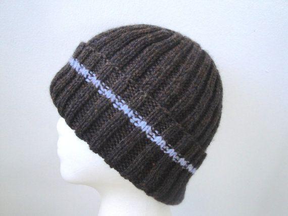 ad99148c Brown & Blue Hat for Men Women Teens Hand Knit Wool by Girlpower, $38.00