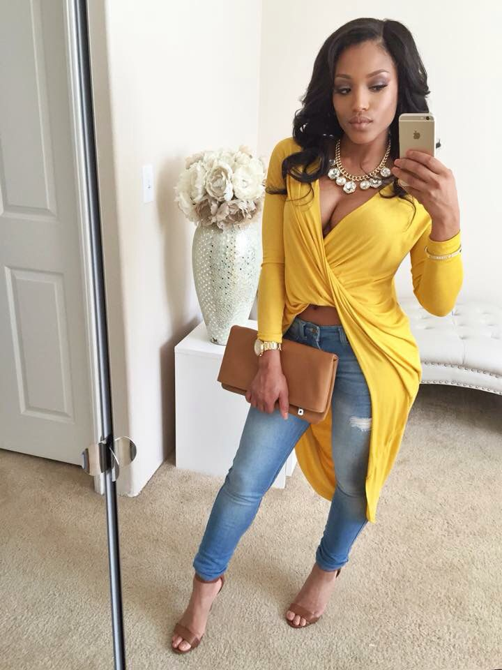 Spring Summer Fashion Outfit Yellow Dress Top Denim Jeans Tan Clutch High Heel Sandals Stylish ...