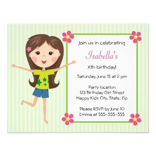 Happy girl cartoon cute girly birthday invitation pinterest happy girl cartoon cute girly birthday invitation filmwisefo
