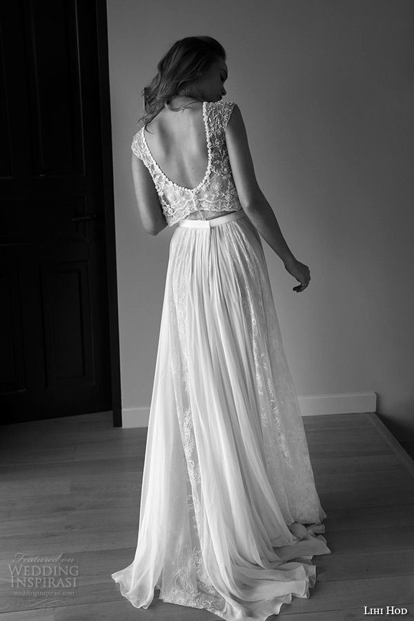 lihi hod wedding dresses 2015 bridal gown bateau neckline sleeveless embroidered lace top pleated tulle skirt dress style maple tree back