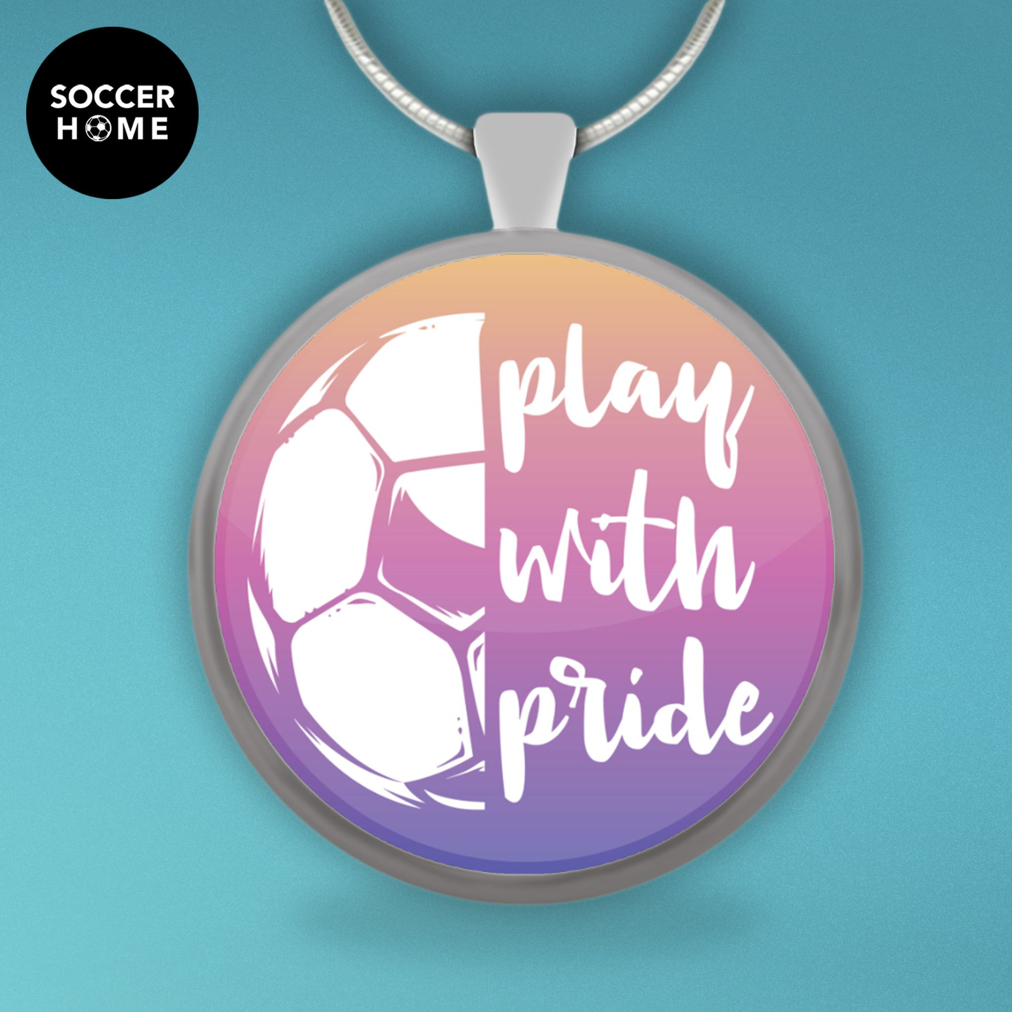 store pendant and necklace gold soccer soccerball cz silver med