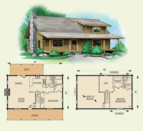 Cabin floor plans blueprints free house plan reviews for Simple cabin plans with loft