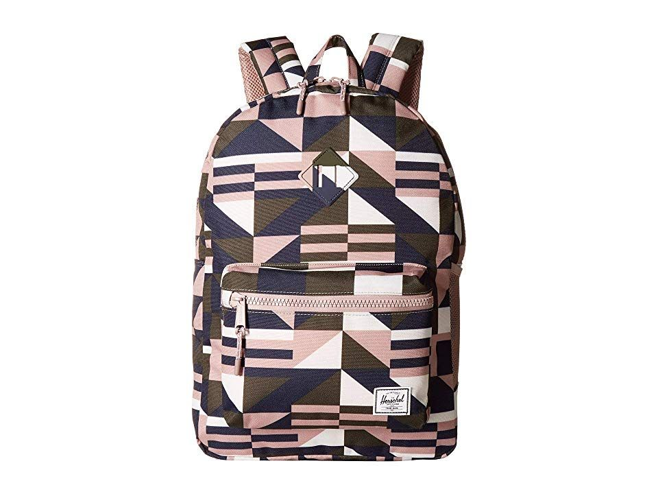Herschel Supply Co. Kids Heritage XL (Youth) (Frontier Geo Ash Rose)  Backpack Bags. Designed for junior scholars and athletes age 8 and up the  everyday ... 2f64b07fb8e68