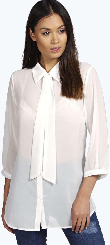 3bef4f5b914 Womens white tie neck oversized shirt from boohoo.com - £16 at  ClothingByColour.com