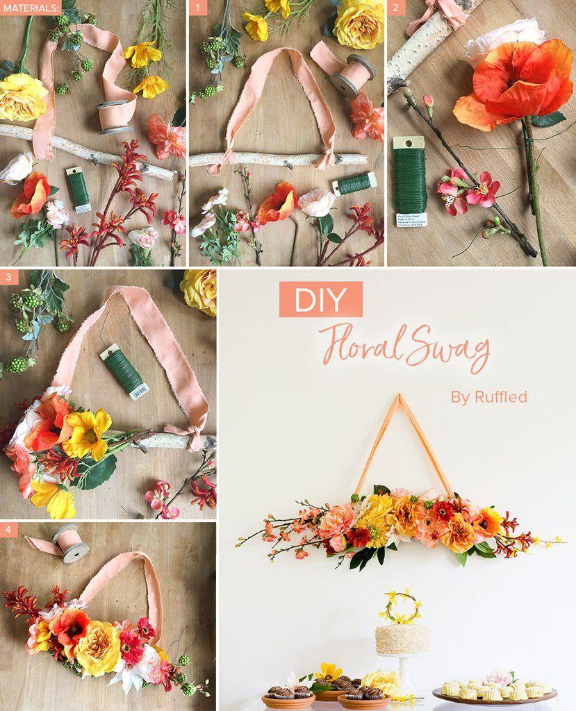 DIY Floral Swag flower arranging Wedding arch flowers