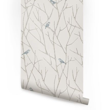 Branch Birds Peel Stick Fabric Wallpaper Repositionable Simple