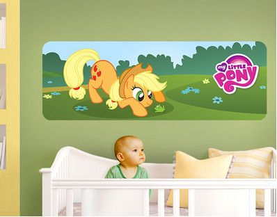 my little pony - applejack and a little frog panorama (wall mural