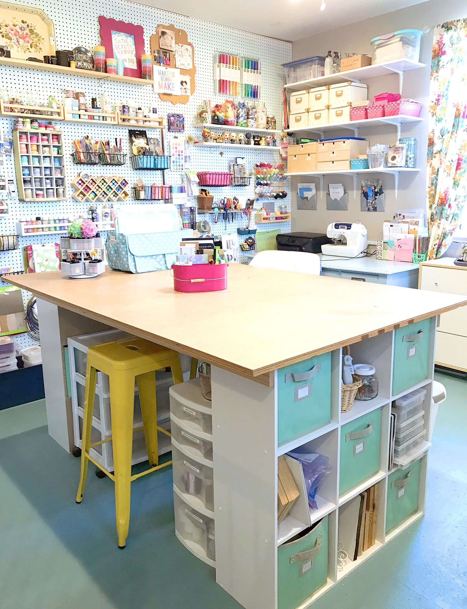 Looking For Craft Room Ideas Come Tour My Craft Room And Take A Peek At Lots Of Awesome And Colorful C Sewing Room Design Small Craft Rooms Craft Room Storage