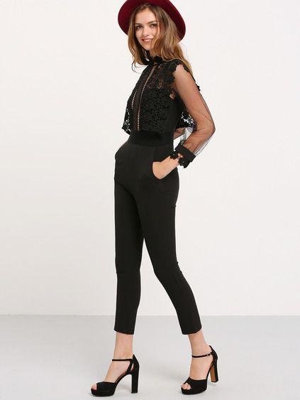 7485545e971 Black Lantern Sleeve Lace Crochet Jumpsuit