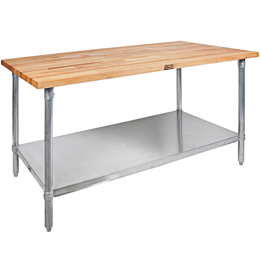 John Boos Co Jns09 X Wood Top Work Table With Galvanized Base And Adjustable Undershelf 30 X 48 In 2020 Work Table Kitchen Prep Table John Boos