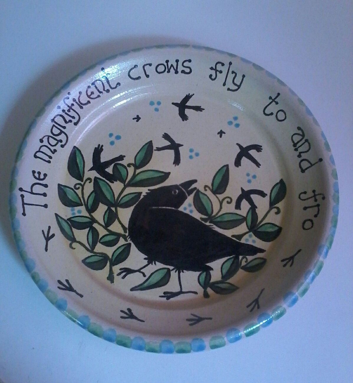 Handmade Pottery Ceramic Crow Plate Crow Gift Crows Wedding Gift