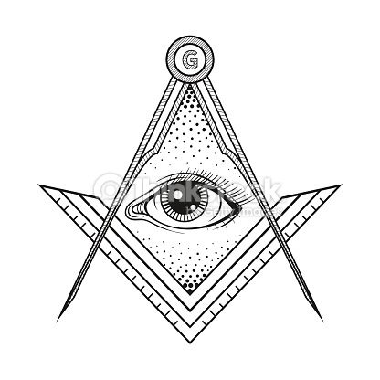 Masonic Square And Compass Symbol With All Seeing Eye Vector Art