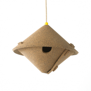by cowandco.co.uk       Cork Birdhouse - GBP 29.50       Bring a piece of the tree back to the trees with this collapsible birdhouse made from cork.     By Gavin Coyle. Made from cork mixed with rubber