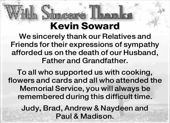 bereavement thank you notes free sample example format note after - sample notes