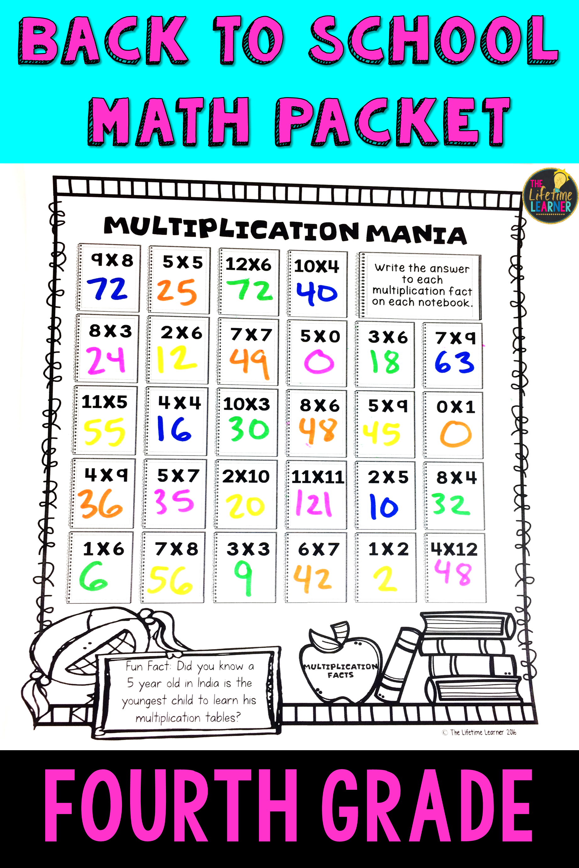 4th Grade Back to School Math Packet | Math skills, Morning work and ...