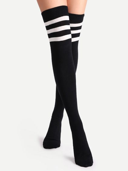 9b8d42df717 Black Varsity Stripe Over The Knee Socks