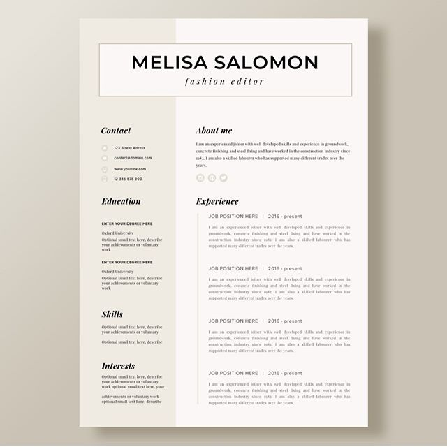 Resume On Microsoft Word Creative Resume Template In Microsoft Wordcv With Modern And
