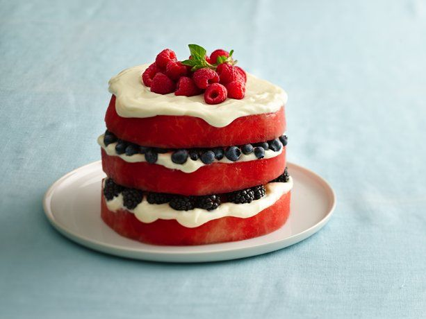 """Red, White and Blue Fruit """"Cake"""""""