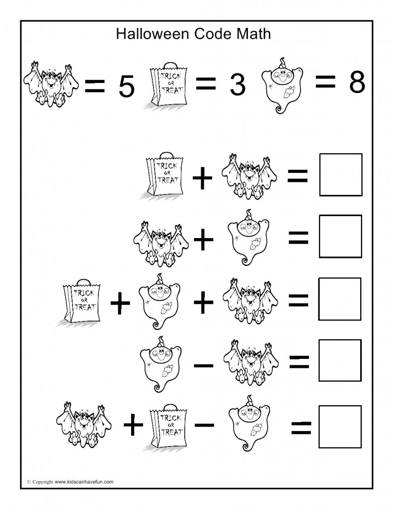 Halloween Worksheets Math Symmetry Tracing Cut And Paste