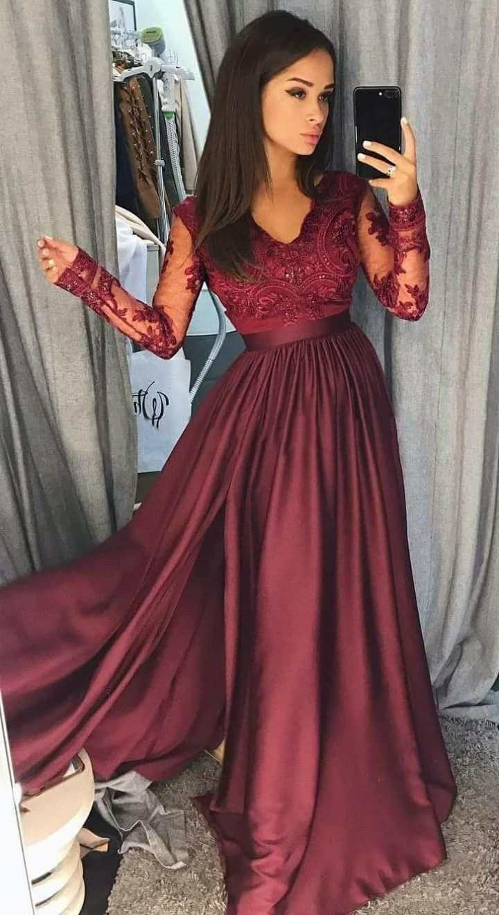 Vestido Vino En 2019 Vestidos Color Vino Largos Vestidos
