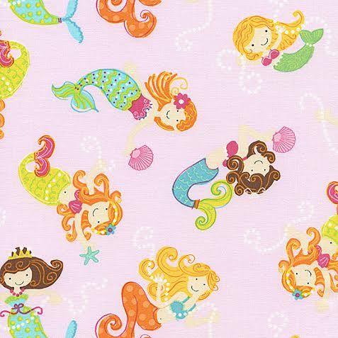 Mermaids Fabric by Timeless Treasures Cute Tossed Happy Mermaids Sea LIfe on Pink