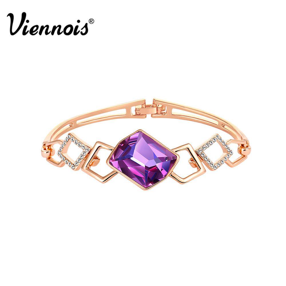Viennois elegant violet swarovski crystal k rose gold gp bangle