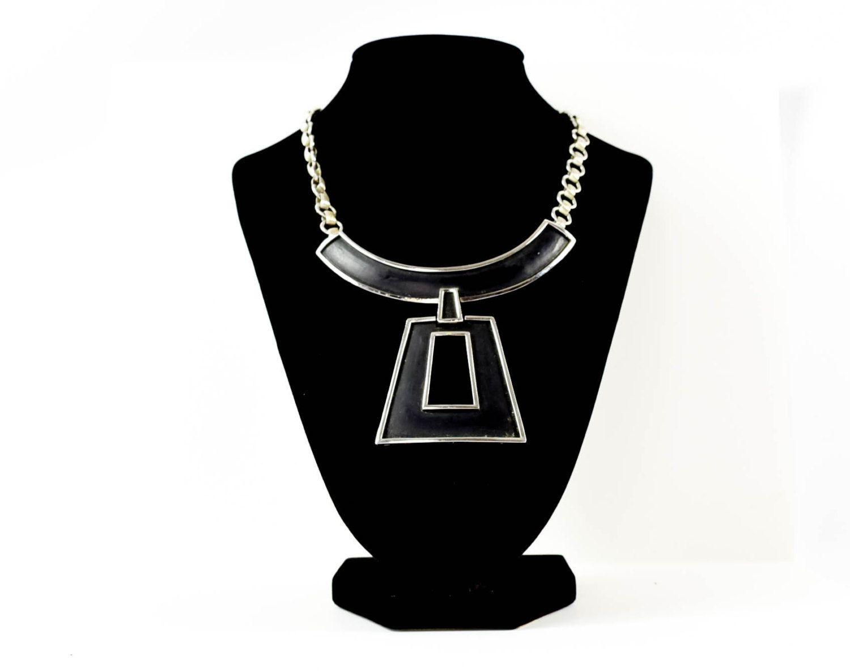 Vintage Trifari Black Enamel Necklace  Vintage 1970 Necklace  Vintage Modern Necklace  Gift for her  Statement Necklace  Gift For Fasionista