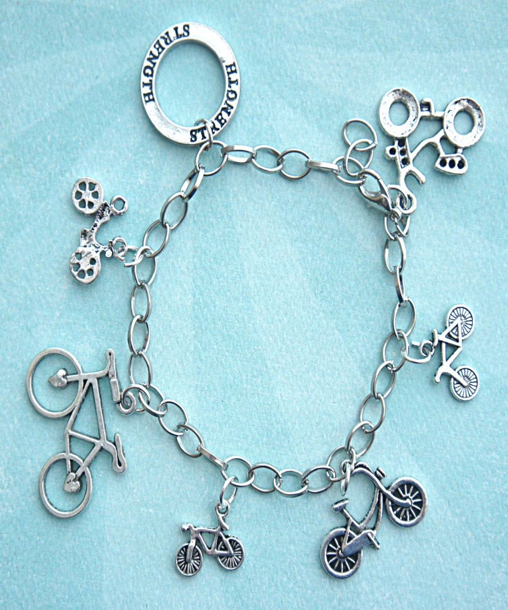 This Charm Bracelet Features Bicycle Bike Tibetan Silver Charms The Are Attached To A Tone Chain That Measures 7 5 Inches In Length
