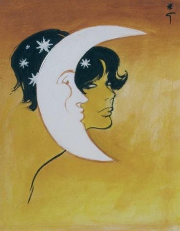 By René Gruau (1909-2004), Profile in the moonlight.