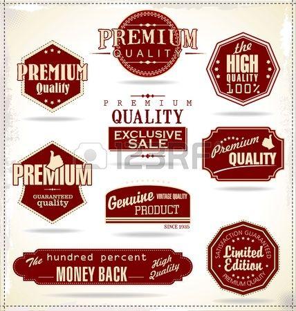 Conjunto de etiquetas Vintage Retro. Relacionadas con la calidad. Foto de archivo. Premium Quality, The high quality 100%, genuine product.