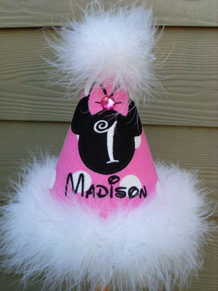 Pink Black Minnie Mouse Party Birthday Hat
