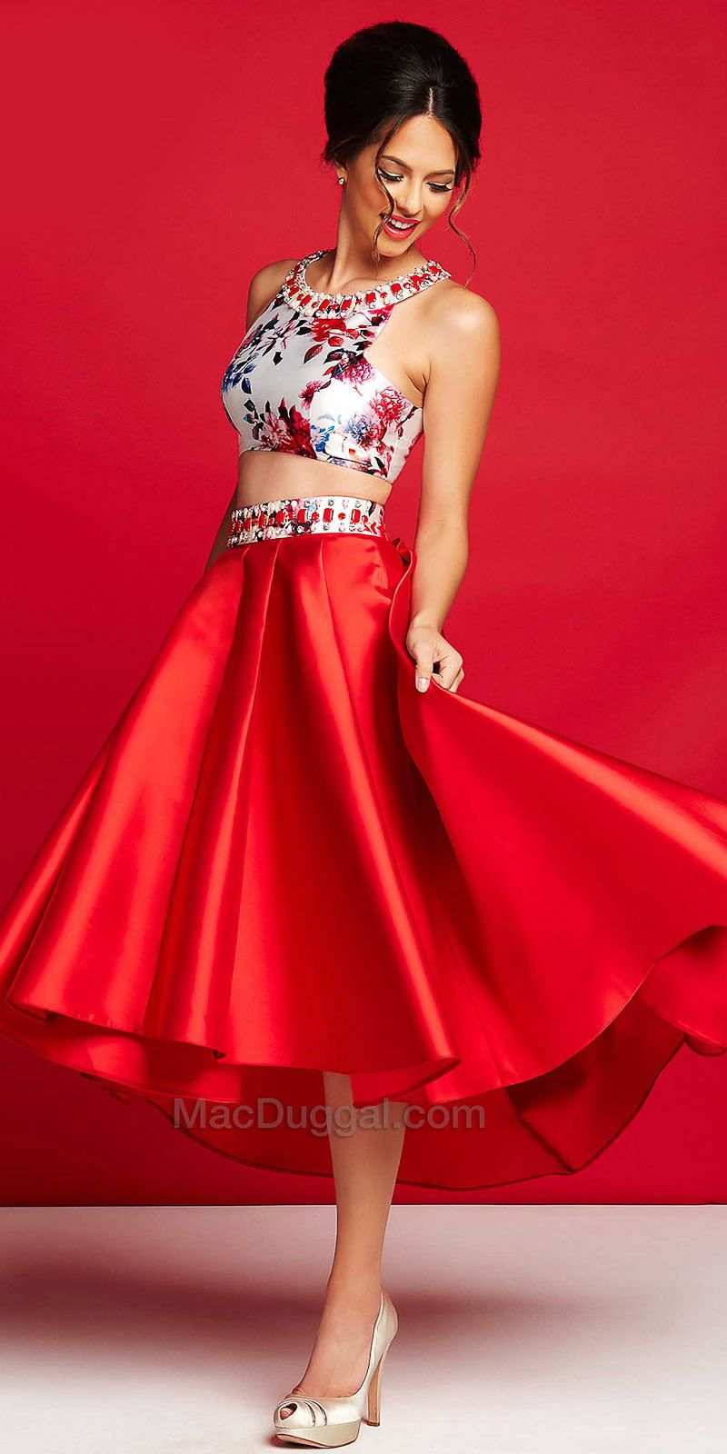 Two Piece Vibrant High-Low Dress by Mac Duggal #edressme | Top 300 ...