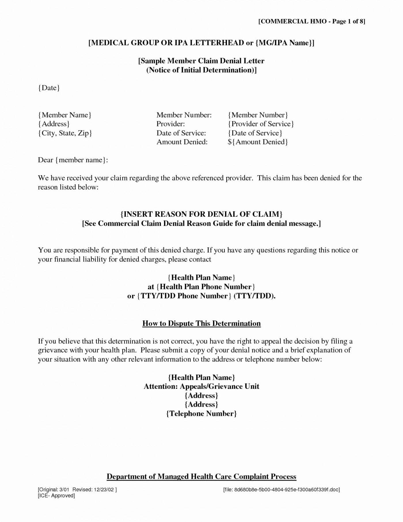 001 Insurance Denial Letter Template Excellent Ideas