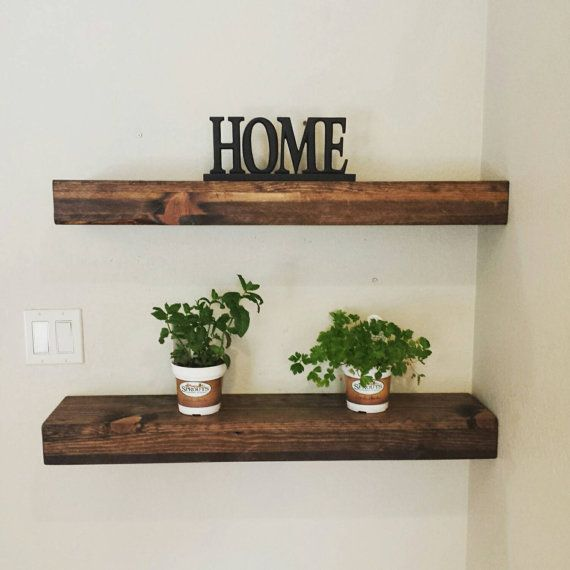 Rustic Reclaimed Wood Dark Walnut Floating Shelf/ Wall Shelf