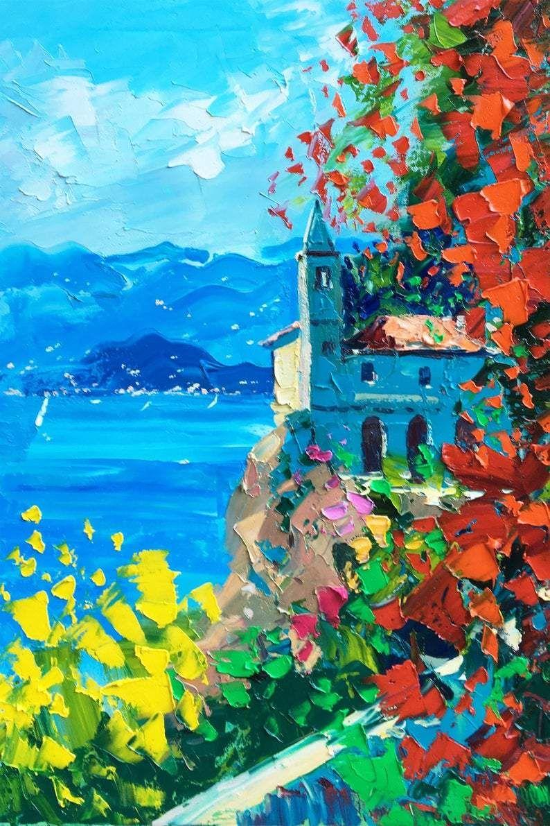 Lake Como Painting on Canvas, Original Art, Italy Painting, Lake Painting, Impressionist Art, Floral Art, Room Wall Art, Small Art, Gift