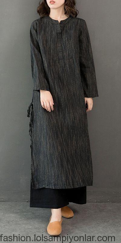 Vintage Cotton Linen Maxi Dresses Women Casual Clothes Q32122