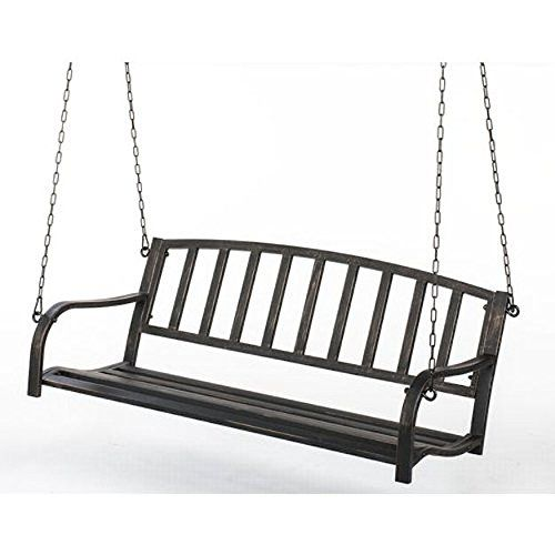 Black Metal Patio Porch Swing. Hang Bench Outdoor In Your Gazebo Or Garden.  Nice