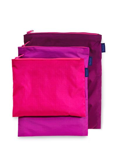 Zipper Bag - Medium from Baggu: Holds toiletries, cords + chargers, electronics, a book, pens + pencils, toys, or anything else medium sized that needs a bag. Includes three bags from 7 x 5.5 to 8 x 10. 100% Ripstop Nylon. Machine Washable.  $12.90