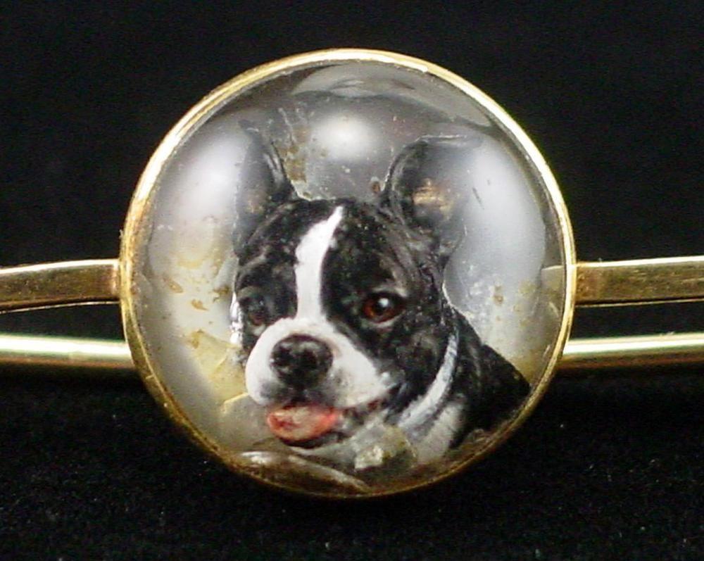 Victorian 14k Reverse Carved Essex Glass Boston Bull Dog Terrior