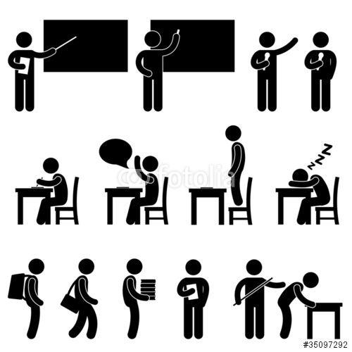 School Teacher Student Class Classroom Symbol Stockfotos Und Lizenzfreie Vektoren Auf Fotolia Com Bild 35097292 Lehrer Ausbildung Piktogramm Grafik