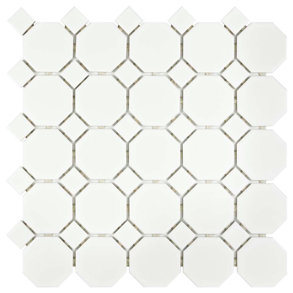 Merola Tile Metro Octagon Matte White And Black 11 1 2 In X 11 1 2 In X 5 Mm Porcelain Mosaic Tile 9 38 Sq Ft Case Fxlm2owd The Home Depot Porcelain Mosaic Tile Mosaic Flooring Porcelain Mosaic