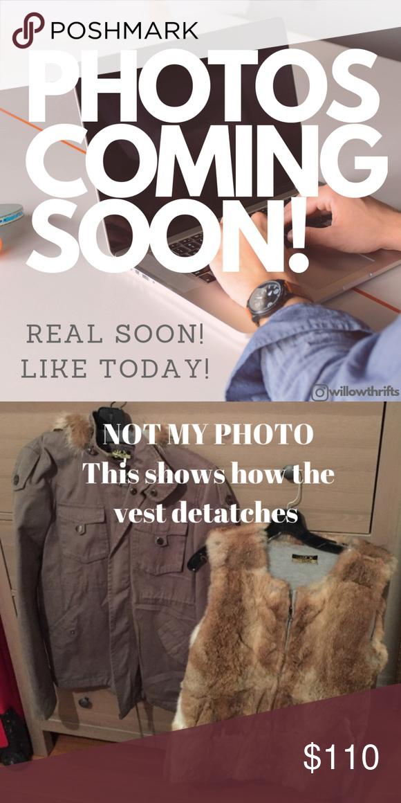 c041042b363940 LaRok Detachable Rabbit Fur Vest Luve Jacket LaRok Utility jacket with  detachable rabbit fur vest Tan