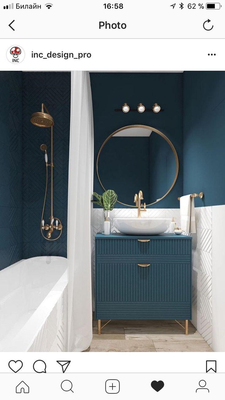 Photo of Luxuriöse kleine Badezimmeridee mit dunkelgrünen, weißen und goldenen Akzenten.,  #Akzenten #…