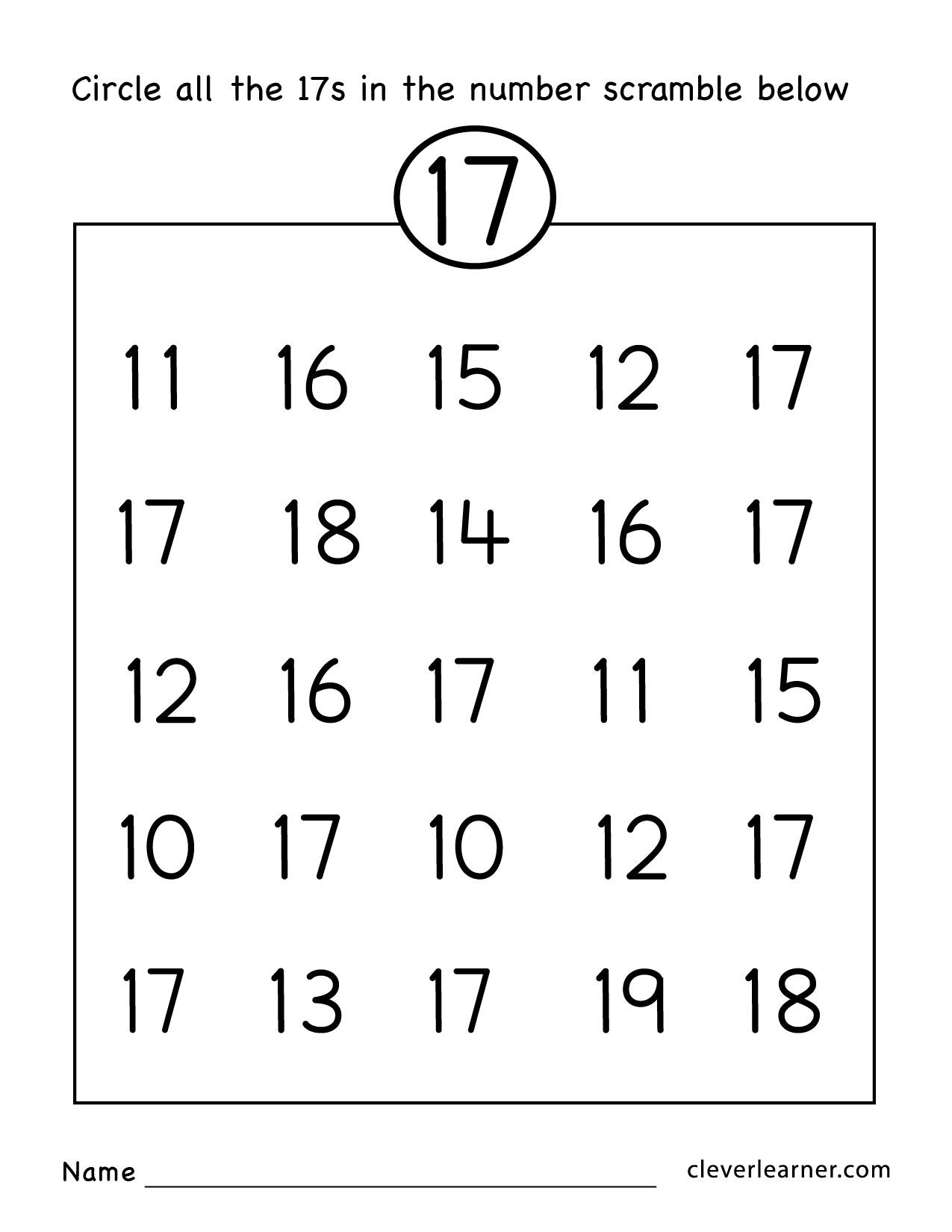 Number 17 Writing Counting And Identification Printable Free Worksheets For Learning To W Numbers Preschool Preschool Worksheets Printable Preschool Worksheets