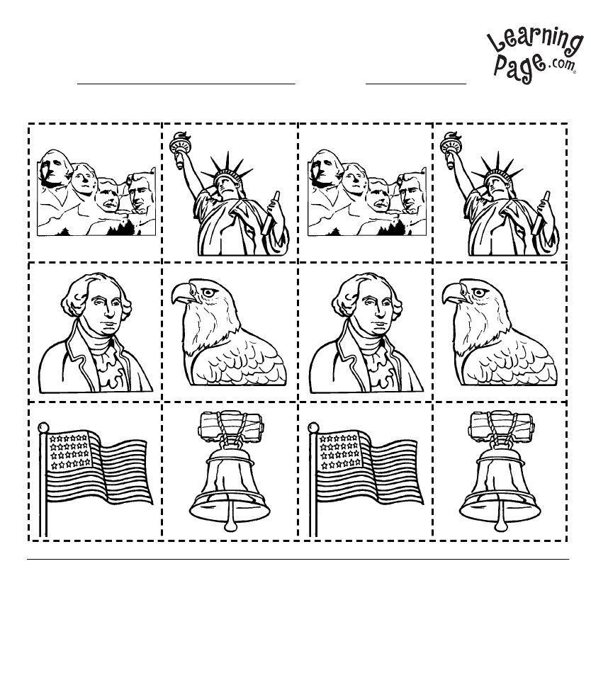 small resolution of Kindergarten Geography (America) Worksheets   American symbols