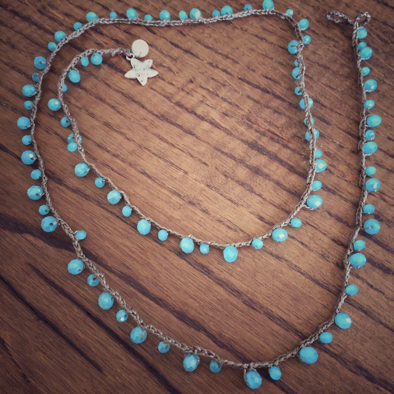 collana filo cotone uncinetto e perle