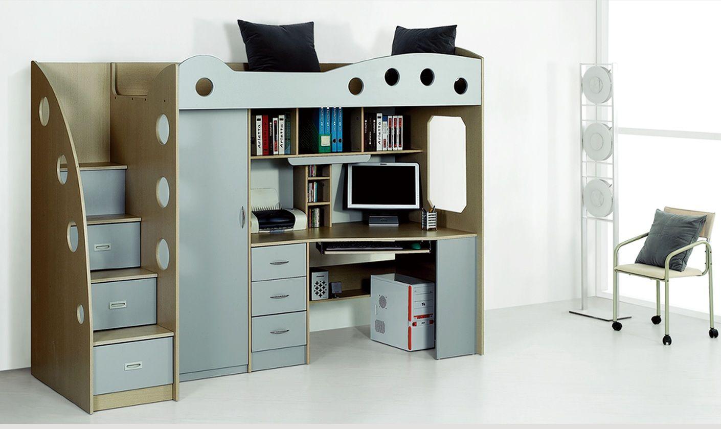 Lit compact enfant avec placard et bureau Domi - gris - Chloe ... - Bureau Placard