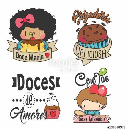 Suficiente Vetor: Logo, set logos, Etiquetas, tags. adesivos doces, docinhos  DY02