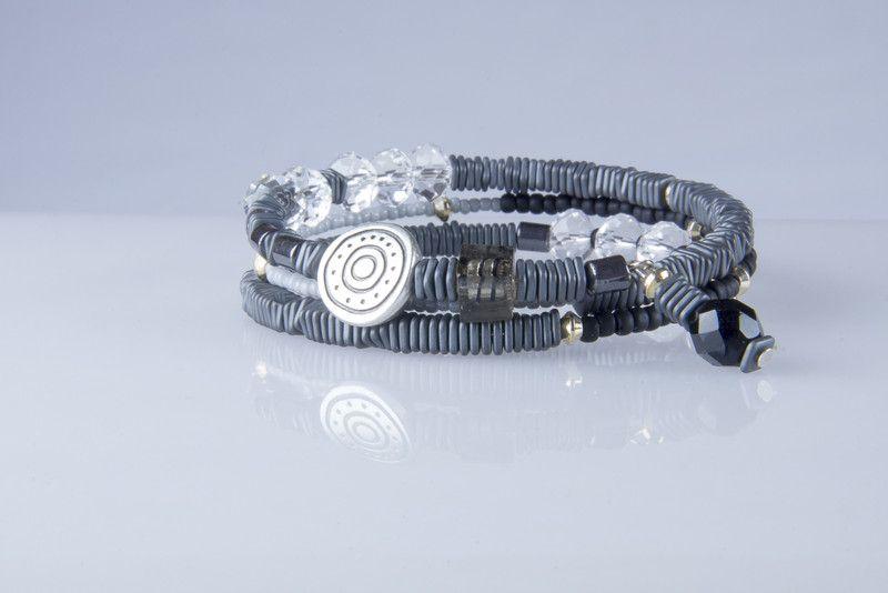 Armband Spiralarmreif hämatit schwarz von kreativrausch-kiel auf DaWanda.com