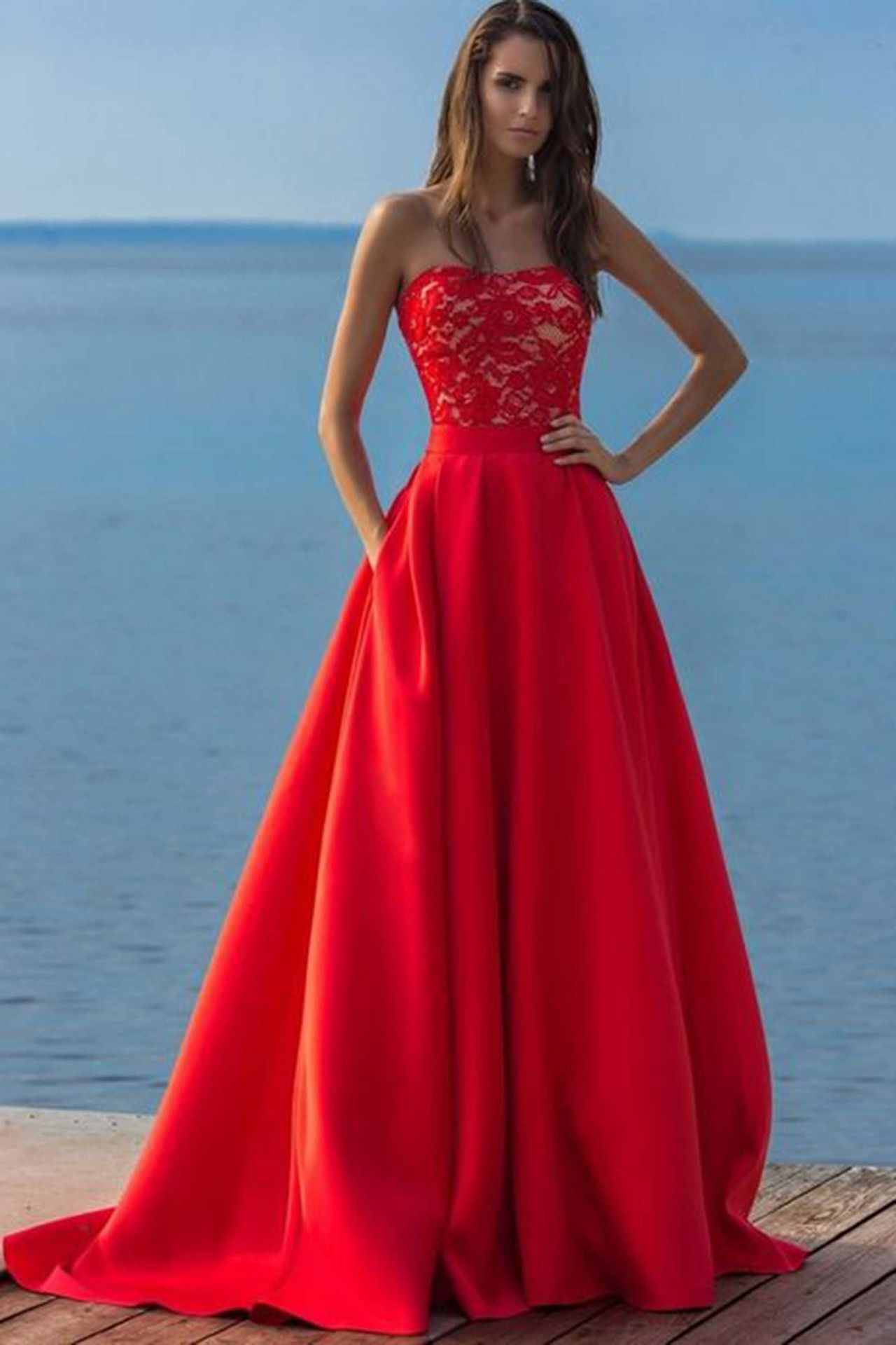 Red lace chiffon prom dress, formal dress, cute sweetheart dress for ...